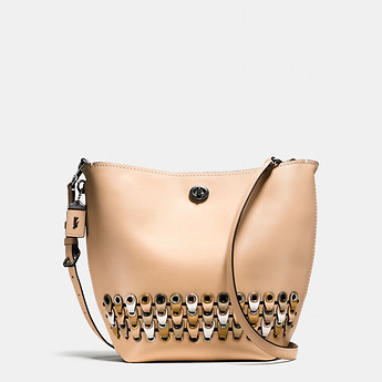Image of Coach Australia  DUFFLE SHOULDER BAG WITH COACH LINK DETAIL IN GLOVETANNED LEATHER