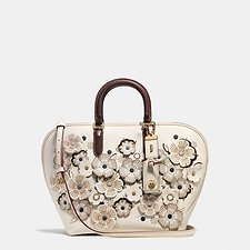 Picture of DAKOTAH SATCHEL IN GLOVETANNED LEATHER WITH LINKED TEA ROSE
