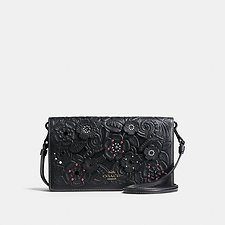 Picture of FOLDOVER CROSSBODY CLUTCH IN GLOVETANNED LEATHER WITH TEA ROSE TOOLING