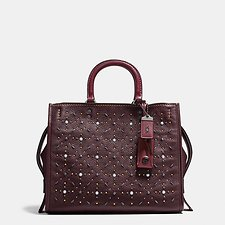 Image of Coach Australia BP/OXBLOOD ROGUE IN NATURAL PEBBLE LEATHER WITH PRAIRIE RIVETS