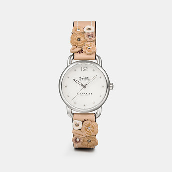 Image of Coach Australia  DELANCEY WATCH WITH FLORAL APPLIQUE