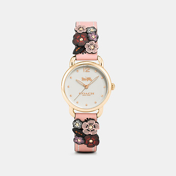 Image of Coach Australia  DELANCEY WATCH WITH FLORAL APPLIQUE, 28MM