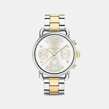 Image of Coach Australia STAINLESS STEEL DELANCEY SPORT 36MM TWO TONE BRACELET WATCH