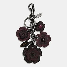 Image of Coach Australia BK/BLACK WILLOW FLORAL MIX BAG CHARM
