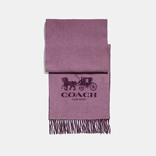 Image of Coach Australia ROSE/PLUM HORSE AND CARRIAGE BICOLOR CASHMERE MUFFLER