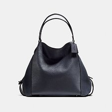 Image of Coach Australia DK/MIDNIGHT NAVY EDIE SHOUDLER BAG 42 IN MIXED LEATHERS