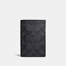 Image of Coach Australia CHARCOAL BIFOLD CARD CARD IN SIGNATURE LEATHER