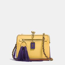 Image of Coach Australia OL/SUNFLOWER VIOLET KISSLOCK CROSSBODY IN COLORBLOCK LEATHER