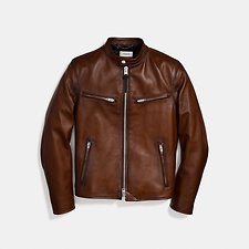Image of Coach Australia DARK SADDLE LEATHER RACER JACKET