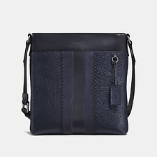 Image of Coach Australia QB/MIDNIGHT NAVY METROPOLITAN SLIM MESSENGER WITH BASEBALL STITCH