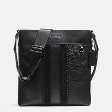 Image of Coach Australia QB/BLACK METROPOLITAN SLIM MESSENGER WITH BASEBALL STITCH