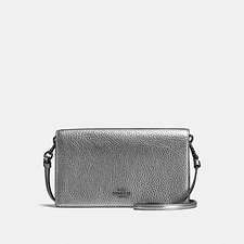 Image of Coach Australia GM/METALLIC GRAPHITE FOLDOVER CROSSBODY CLUTCH