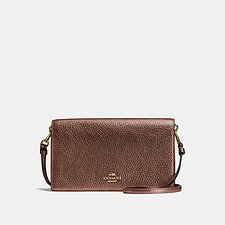 Image of Coach Australia LI/BRONZE FOLDOVER CROSSBODY CLUTCH