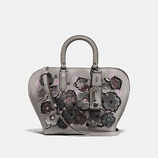 Image of Coach Australia BP/HEATHER GREY DAKOTAH SATCHEL 22 WITH LINKED TEA ROSE