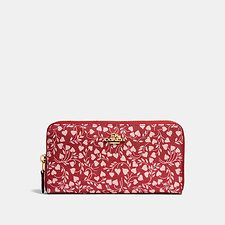 Image of Coach Australia LI/LOVE LEAF ACCORDION ZIP WALLET WITH LOVE LEAF PRINT