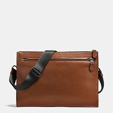Image of Coach Australia QB/DARK SADDLE MANHATTAN CONVERTIBLE SLIM MESSENGER