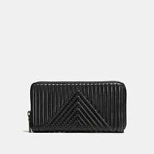 Image of Coach Australia BP/BLACK ACCORDION ZIP WALLET WITH QUILTING AND RIVETS