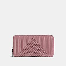 Image of Coach Australia BP/DUSTY ROSE ACCORDION ZIP WALLET WITH QUILTING AND RIVETS