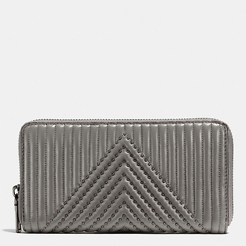 Image of Coach Australia  ACCORDION ZIP WALLET WITH QUILTING AND RIVETS