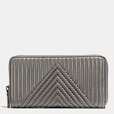 Image of Coach Australia BP/HEATHER GREY ACCORDION ZIP WALLET WITH QUILTING AND RIVETS