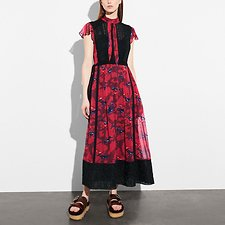 Picture of HORSE PRINT LACEWORK DRESS WITH NECKTIE