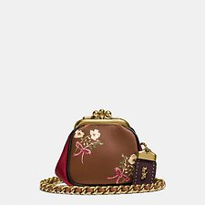 Picture of KISSLOCK POUCH IN GLOVETANNED NAPPA LEATHER WITH FLORAL BOW PRINT