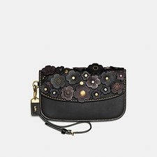 Image of Coach Australia OL/BLACK CLUTCH WITH SMALL TEA ROSE