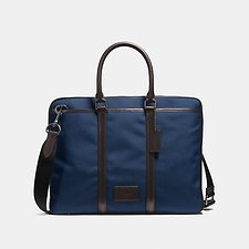 Image of Coach Australia QB/BRIGHT NAVY/CHESTNUT METROPOLITAN SLIM BRIEF