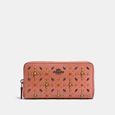 Image of Coach Australia DK/MELON ACCORDION ZIP WALLET WITH PRAIRIE RIVETS