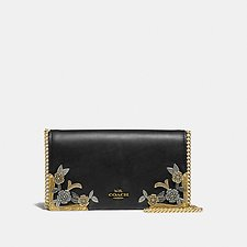 Image of Coach Australia B4/BLACK FOLDOVER CHAIN CLUTCH WITH METAL TEA ROSE