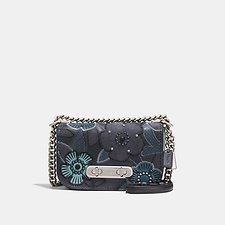 Picture of COACH SWAGGER SHOULDER BAG 20 WITH PATCHWORK TEA ROSE AND SNAKESKIN DETAIL
