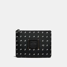 Image of Coach Australia BLACK/CHALK MULTIFUNCTIONAL POUCH WITH DOT DIAMOND PRINT