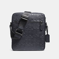 Image of Coach Australia QB/MIDNIGHT NAVY FLIGHT BAG IN SIGNATURE CROSSGRAIN LEATHER