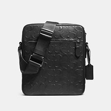 Image of Coach Australia QB/BLACK FLIGHT BAG IN SIGNATURE CROSSGRAIN LEATHER