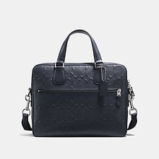Image of Coach Australia SV/MIDNIGHT HUDSON 5 BAG IN SIGNATURE CROSSGRAIN LEATHER