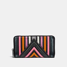 Image of Coach Australia DK/BLACK MULTI ACCORDION ZIP WALLET WITH COLORBLOCK QUILTING AND RIVETS