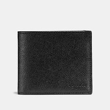 Image of Coach Australia BLACK 3-IN-1 WALLET IN CROSSGRAIN LEATHER