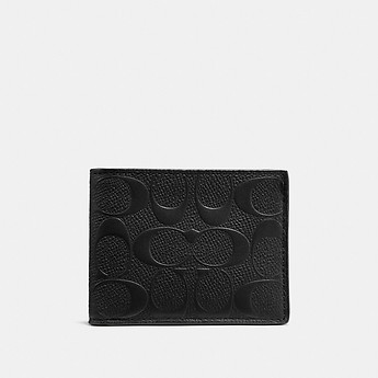 Image of Coach Australia  SLIM BILLFOLD WALLET IN SIGNATURE LEATHER