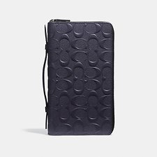 Image of Coach Australia MIDNIGHT DOUBLE ZIP TRAVEL ORGANIZER IN SIGNATURE CROSSGRAIN LEATHER
