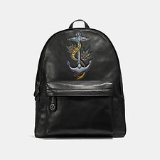Image of Coach Australia QB/BLACK CAMPUS BACKPACK WITH TATTOO TOOLING