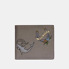 Image of Coach Australia HEATHER GREY DOUBLE BILLFOLD WALLET WITH TATTOO