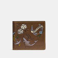 Image of Coach Australia SADDLE DOUBLE BILLFOLD WALLET WITH TATTOO