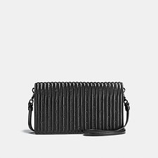 Image of Coach Australia DK/BLACK FOLDOVER CROSSBODY CLUTCH WITH QUILTING AND RIVETS