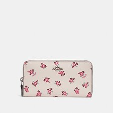 Image of Coach Australia SV/CHALK FLORAL BLOOM ACCORDION ZIP WALLET WITH FLORAL BLOOM PRINT