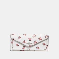 Image of Coach Australia SV/CHALK FLORAL BLOOM SOFT WALLET WITH FLORAL BLOOM PRINT