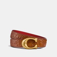 Image of Coach Australia 1941 SADDLE/1941 RED SCULPTED SIGNATURE REVERSIBLE BELT IN SIGNATURE LEATHER