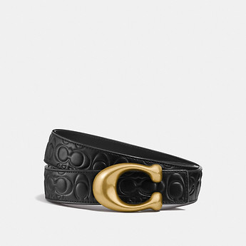 Image of Coach Australia  SCULPTED SIGNATURE REVERSIBLE BELT IN SIGNATURE LEATHER
