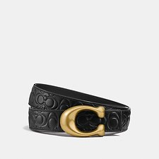 Image of Coach Australia BLACK/BLACK BRASS SCULPTED SIGNATURE REVERSIBLE BELT IN SIGNATURE LEATHER
