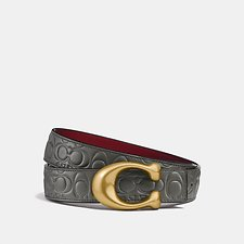 Image of Coach Australia HEATHER GREY/WINE BRASS SCULPTED SIGNATURE REVERSIBLE BELT IN SIGNATURE LEATHER