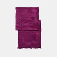 Image of Coach Australia DARK BERRY SIGNATURE METALLIC STOLE